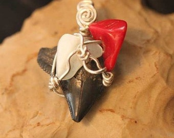 Sharp Tiny Fossilized  Sharks Tooth Pendant with  Red Coral,  Mother Of Pearl, Sculpted in  Sterling Silver
