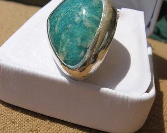 Gemmy Green Amazonite Pendant set in Fine Silver
