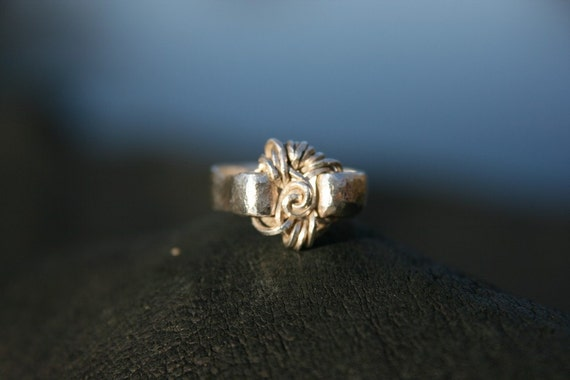 Tiny Sterling Embossed RING WireWrapped Silver Swirl Design Size 4