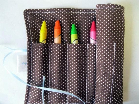 Classic Crayon Roll. Brown Pin Dots