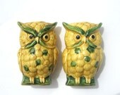 1950s Green and Yellow Owl Salt and Pepper shakers