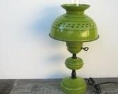 1960s Retro Toleware Hurricane Lamp- Olive Green