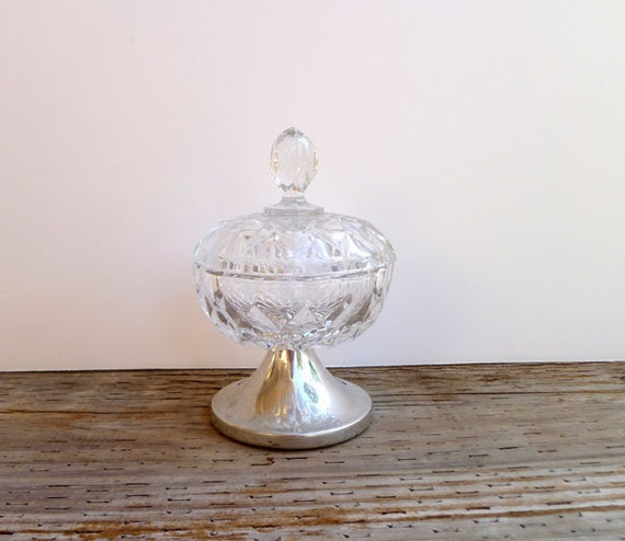 Vintage Glass Bowl with lid and Pewter base- Kirk Stieff