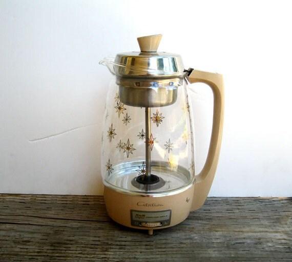 Mid Century Coffee Pot Starburst- Percolator- Proctor Silex Citation