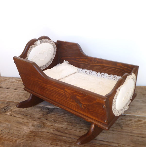 Antique Vintage Wooden Baby Doll Cradle With Lace Bed Set And