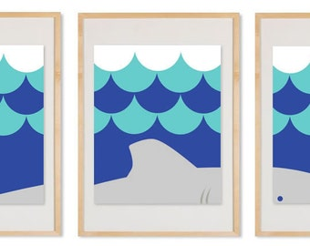 SHARK Triptych - Set of 3 Prints