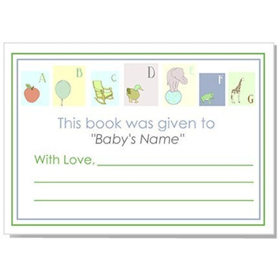 ABC Baby Shower Bookplates