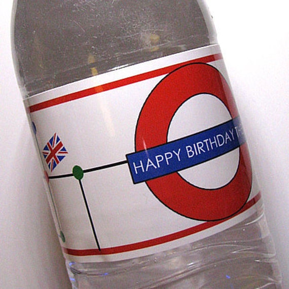 British Underground Water Bottle Labels