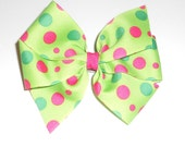 Lime green and hot pink dotted pinwheel bow