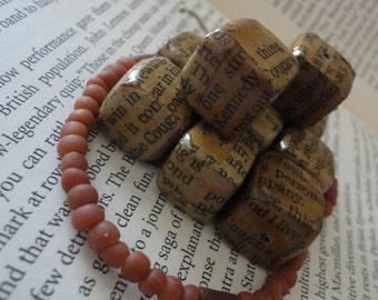 Handmade Stained Newspaper Beads 10