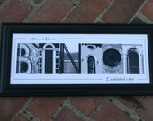 Black and White Photograph Personalized Name Collage in Alphabet Art 8x20 Framed  Free Shipping