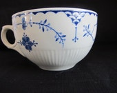 5 x Vintage Blue & White Furnivals Denmark Cups Retro Spring Winter Tea