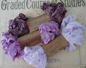 Shabby Wrinkled Purple Hues ribbon bundle, 15 yards