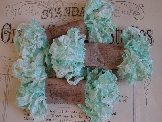 Lovingly Grunged Attic Finds Morning Dew ribbon, 5 yards