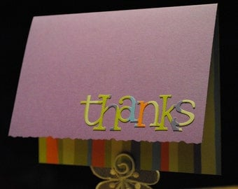 Purple thank you cards - set of four