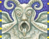 SEE NO EVIL GARGOYLE Susan Brack FANTASY ACEO ART Stone Demon
