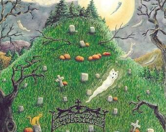 Nine Lives Cemetery Cat Graveyard EHAG Open Edition Print Susan Brack