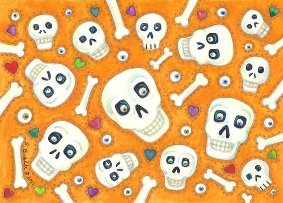 Day Of The Dead Heads Original Art Susan Brack Ehag Halloween Bone Soup Art HA31 EBSQ
