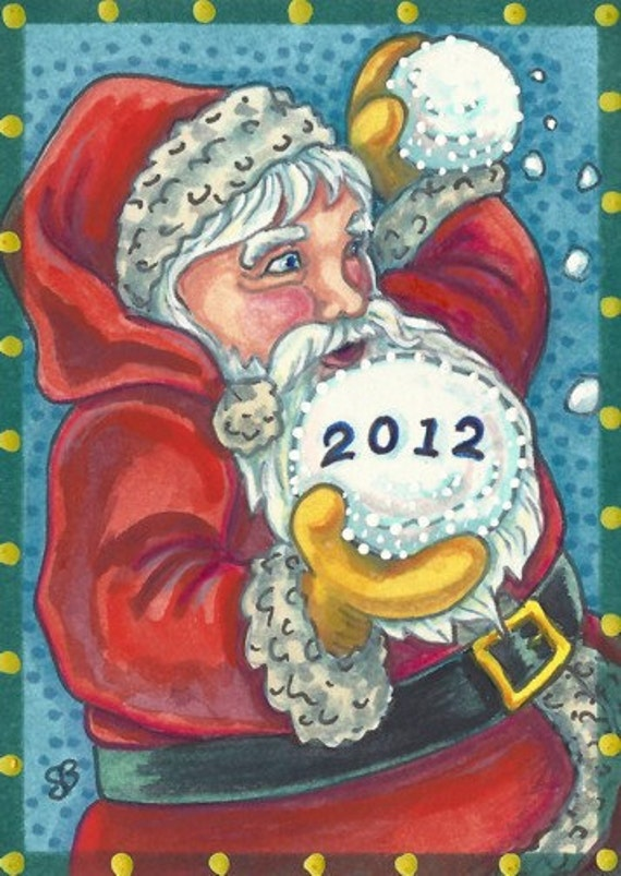 Santa Throws The First 2012 New Year Snowball Holiday Art ACEO Susan Brack EBSQ