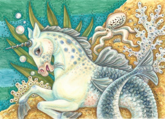 Merhorse Mermaid Unicorn Seahorse Sea Horse Octopus Art Susan