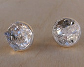 Raw Herkimer Diamond Crystal Studs Silver