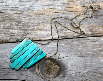 Turquoise Chunk Long Brass Chain Necklace