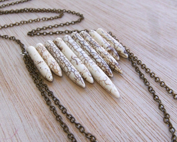Howlite Turquoise Spears Long Brass Chain Necklace