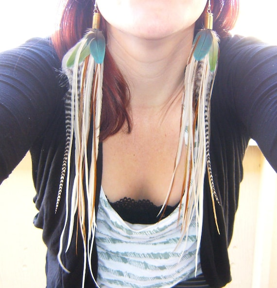 Jungle Ginger Long Feather Bullet Earrings