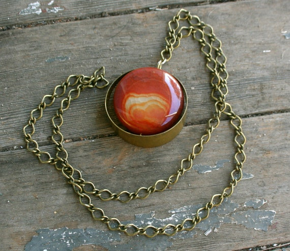 Fire Agate Chunk and Brass Circle Necklace SALE