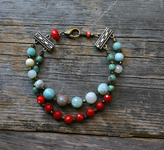 Bohemian Double Strand Stone and Brass Bracelet