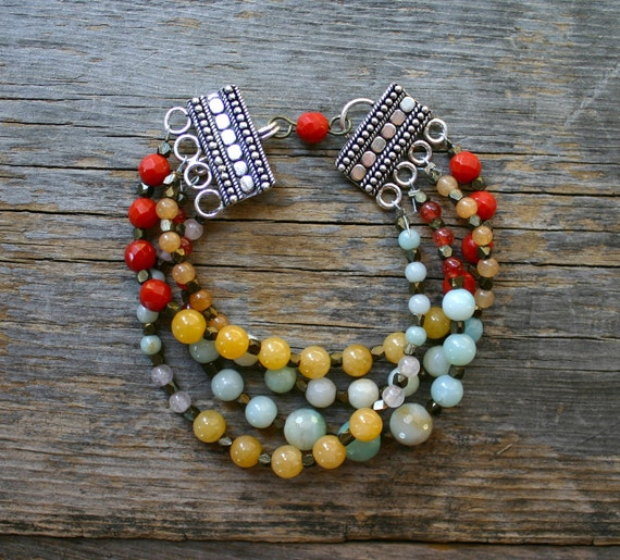 Bohemian Four Strand Stone and Brass Bracelet  SALE