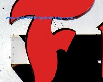 LETTER F No.3 8x10 Vertical Photo, AUTOBODY STYLE, Alphabet Letter Photo Art