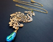 SALE 25-50% Check Shop Announcement for details...Bermuda blue briolette, rose gold peacock & 14kt gold filled chain necklace