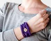 Crochet Bracelet and Necklace in one piece. Violet .