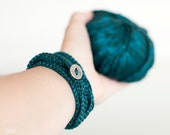 Wrapped Bracelet and Necklace in one piece. Crochet Jewelry. Teal Blue. Friendship Bracelet. Textil Jewelry.Coiled Bracelet.Romantic Jewelry