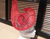 Illustrated red fascinator
