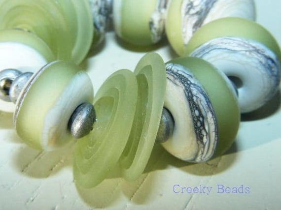 Handmade Lampwork beads Soft Leaves Creeky Beads SRA
