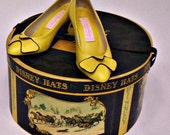 Reserved for Amber - Vintage Yellow Shoes Italian Made 70s Pump with Bow Size 6 1/2B TREASURY ITEM