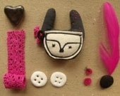 I love pink-moustached rabbit fabric brooch