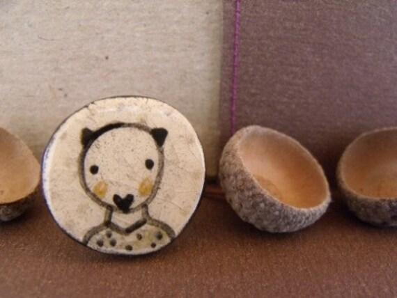 My forest bear friend- adjustable ceramic art ring