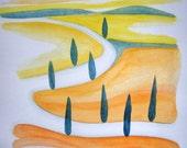 Watercolors / Watercolors landscape / Paintings original / Painting Landscape / Modern art / Tuscan Hills / Tuscany Cypress / Watercolor Art