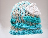 Turquoise Baby Hat Newborn hat Photo prop Turquoise Sailboat baby hat Baby fashion Cotton Baby hat Hand Knit Crochet Infants Gift for baby