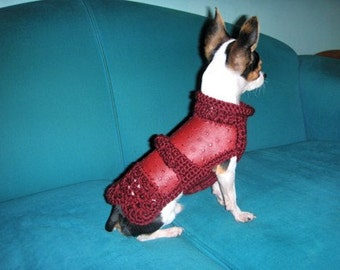 OOAK Red coat for Chihuahua or small dogs Red sweater for small dogs Fashion dogs autumn winter