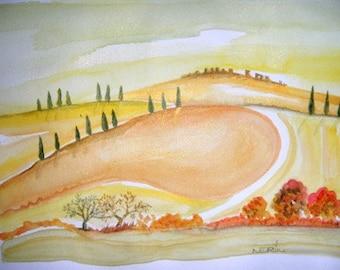 Landscape Italian watercolor, Modern Art, watercolor landscape, painting, Painting art, Tuscan Hills whit Cypress, Tuscany art