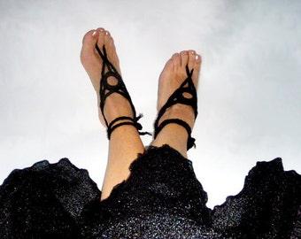 Black Anklets for women Anklet Hippy Chic Black Barefoot Sandals Nude shoes Yoga Anklets Bohemian fashion barefoot sandal Boho Beach Wedding