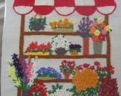 Flower Stand - Vintage Crewel Embroidery