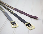 Diamond stud belt made with leather
