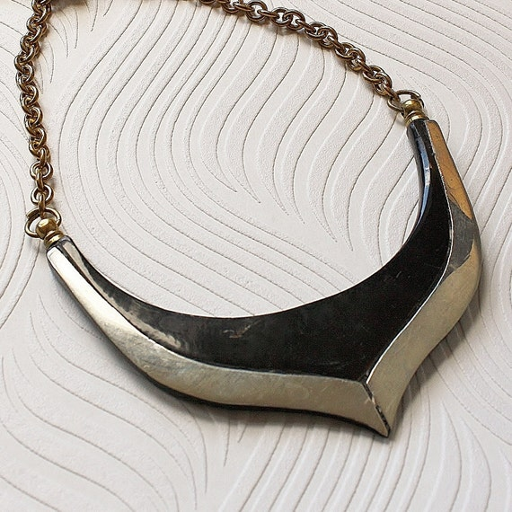 Metal and Horn vintage statement necklace. Handmade
