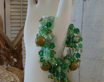 Altered Glass Beaded Green Bracelet