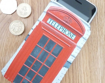 Samsung Galaxy S4 S3 Sleeve Pouch Case - British Red Phone Box - Can Be Customised To Fit Any Model